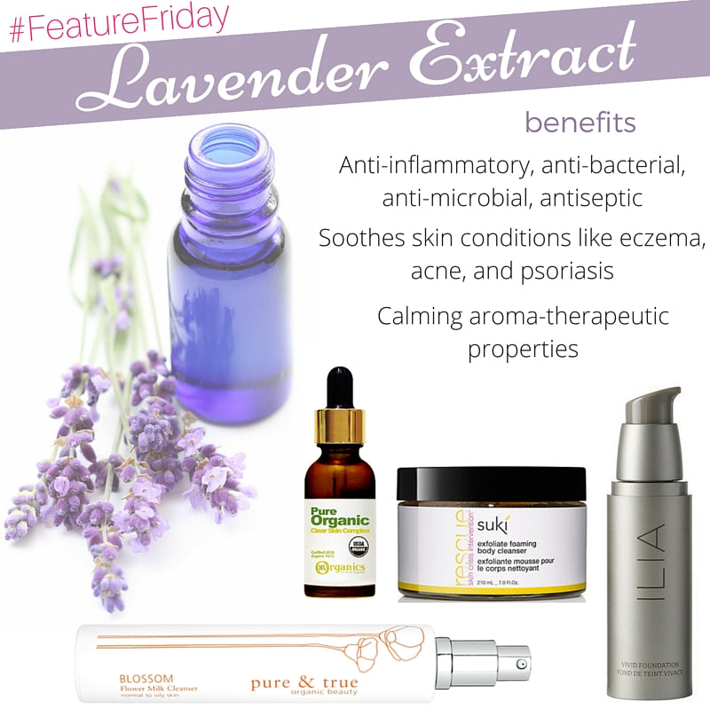 Benefits of lavender extract: anti-inflammatory, anti-bacterial, anti-microbial, antiseptic. soothes skin conditions like eczema, acne, and psoriasis. calming aromatherapeutic properties.