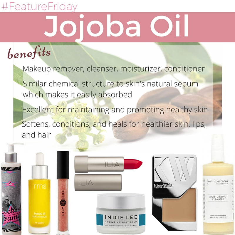benefits of jojoba oil: makeup remover, cleanser, moisturizer, conditioner. similar chemical structure to skin's natural serum which makes it easily absorbed. excellent for maintaining and promoting healthy skin. softens, conditions, and heals for healthier skin, lips, and hair.