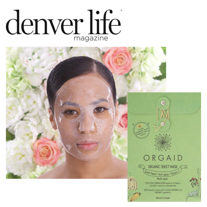 orgaid organic sheet mask. article from denver life magazine
