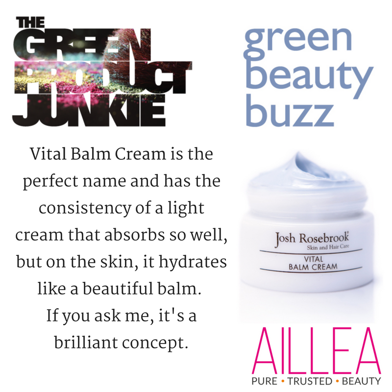 green beauty buzz. article by the green product junkie. vital balm cream is the perfect name and has the consistency of a light cream that absorbs so well, but on the skin, it hydrates like a beautiful balm. if you ask me, it's a brilliant concept