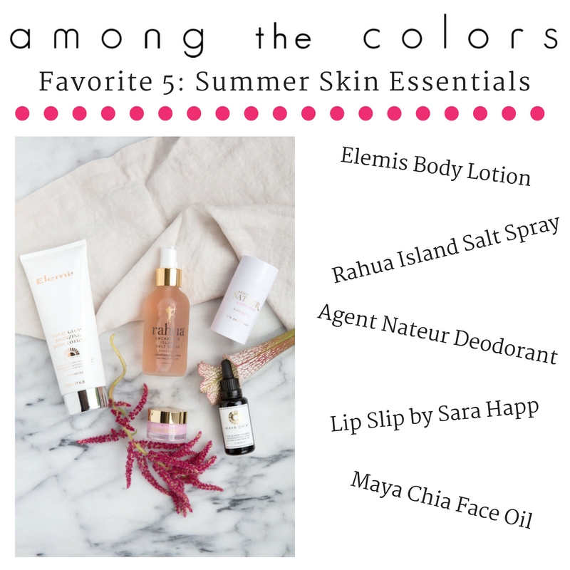 favorite 5: summer skin essentials article from among the colors