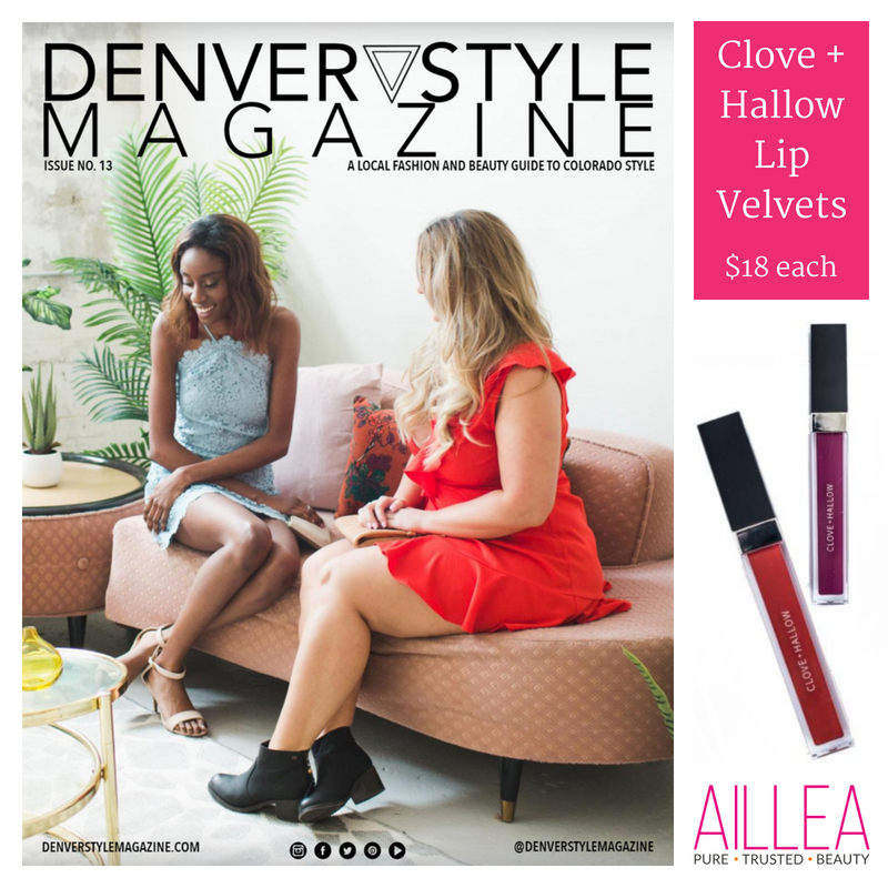 denver style magazine features clove and hallow lip velvets sold at aillea
