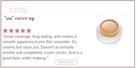 """un""cover-up from rms beauty. 5 star rating. customer review: ""great coverage, long lasting, and creates a smooth appearance. love this concealer. it's creamy but stays put. doesn't accentuate wrinkles and completely covers circles. and is a good base under makeup."""