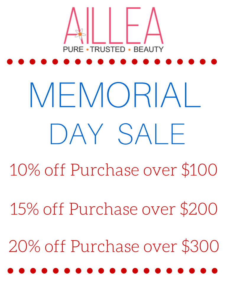 memorial day sale: 10% off purchase over $100. 15% off purchase over $200. 20% off purchase over $300.