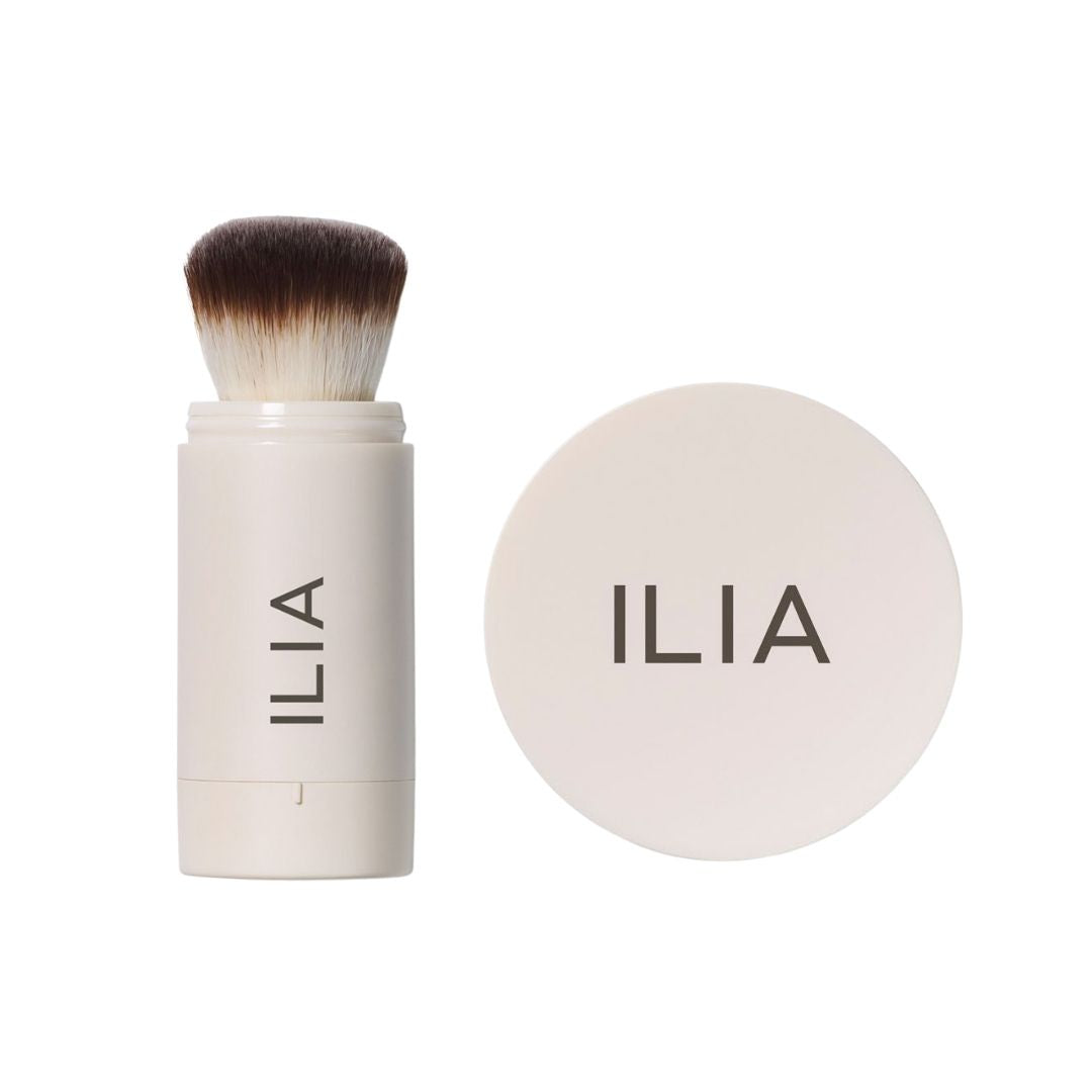 ILIA Radiant Translucent Powder SPF 20 Flow-Thru Brush and Tinted Jar in Magic Sands and Waikiki Run - AILLEA
