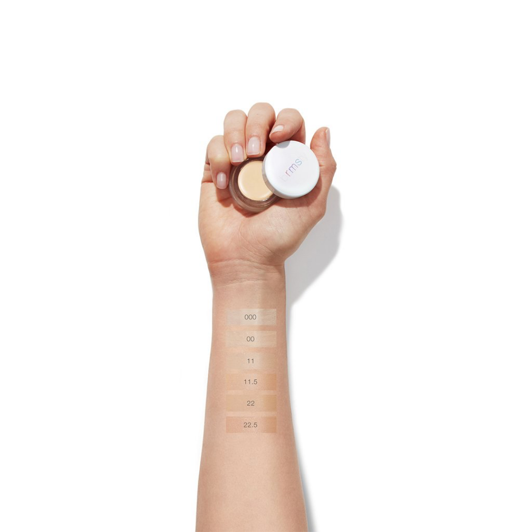 "RMS ""Un"" Cover-up Concealer arm swatches of shades 000 to 22.5"