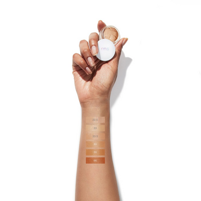 "RMS ""Un"" Cover-up Concealer arm swatches of shades 22.5 to 66."