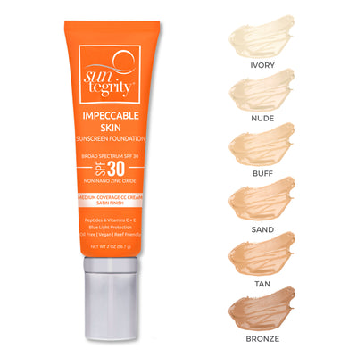 Suntegrity Impeccable Skin SPF 30 - all swatches - AILLEA