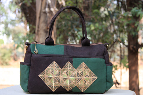 Hmong Handmade Green Cross-Stitch Purse