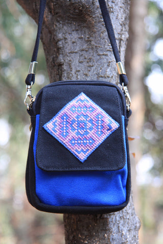 Hmong Handmade Blue Smart Phone Shoulder Bag