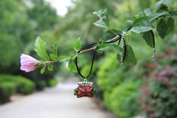 Hmong Handmade Tubular Pendant with Blak String Chain