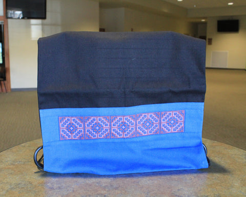 Chinese Hmong Handmade Blue Cross-Stitch Drawstring Bag
