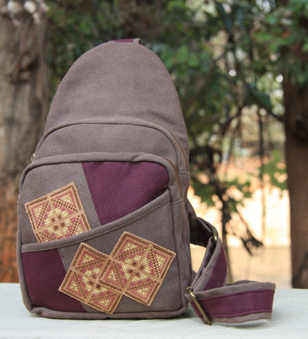 Hmong Handmade Burgundy Cross Stitch Sling Bag