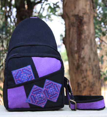 Hmong Handmade Purple Cross Stitch Sling Bag