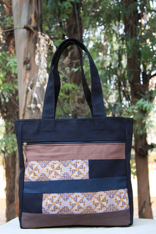 Hmong Handmade Cross-Stitch Malt Color Tote