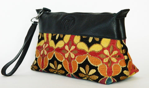 Leather Cosmetic Case/Clutch/Wristlet (More Color/Fabric Options Available)