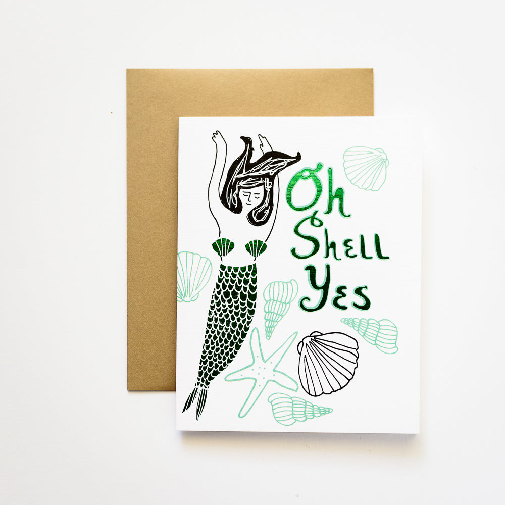 ilootpaperie - Oh Shell Yes! Mermaid with Green Foil Greeting Card