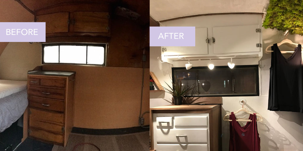 Before after camper renovation of MADI Apparel's new mobile boutique