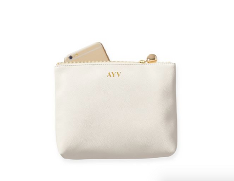 vegan travel pouch white with monogram