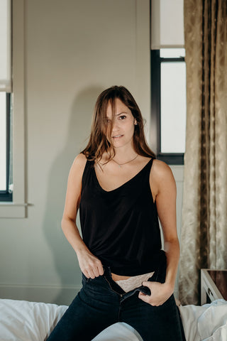 Bamboo Lounge Tank in Black - The Sybil