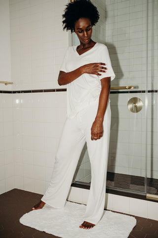 Bamboo Pajama Set (Pants + V-Neck) in Ivory