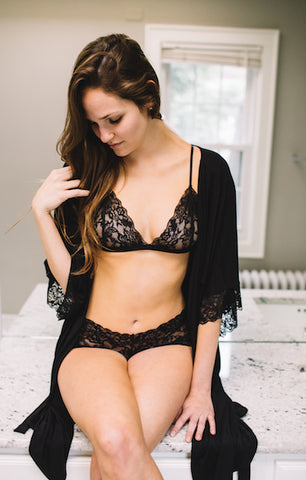 Luxe Lace Bralette + Lace Panty Set in Black