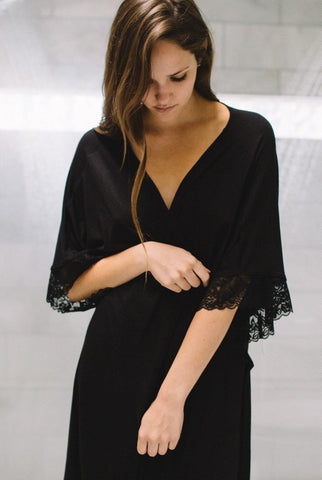{Pre-Order, ships in 10-12 weeks} The Karen - Bamboo Restful Robe in Black