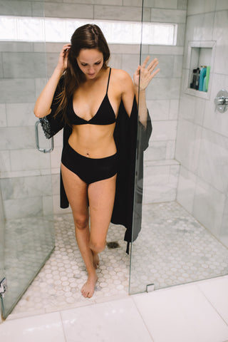Bamboo Robe + Bamboo Panty + Bamboo Bralette Set in Black