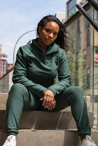 All Day Every Day Hoodie & Jogger Sweat Suit - in Pine Green