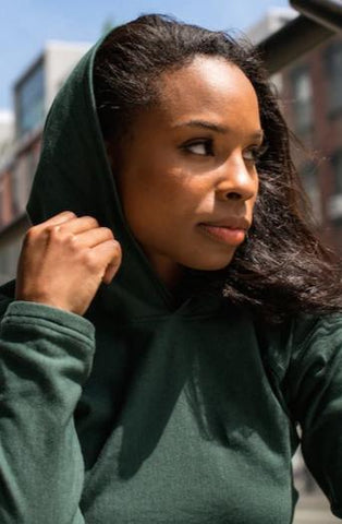 Tencel and Organic Cotton Hoodie - in Pine Green