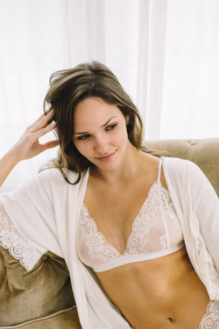 The Molly - Luxe Lace Bralette in Ivory