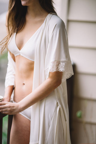Bamboo Bralette + Bamboo Panty Set in Ivory