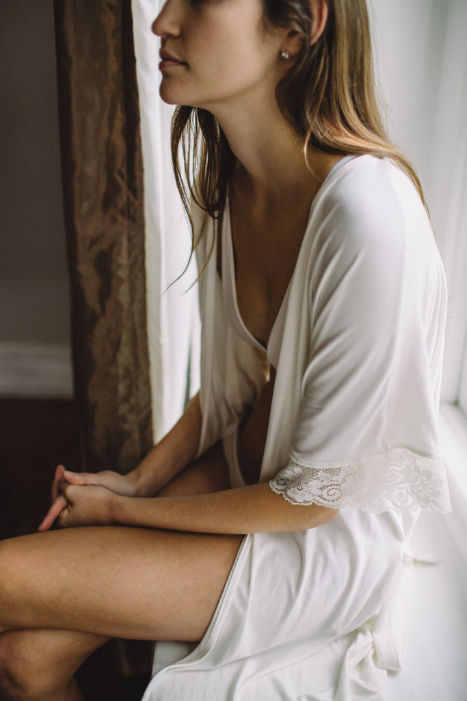 {Pre-Order, 10-12 weeks to ship} The Karen - Bamboo Restful Robe in Ivory