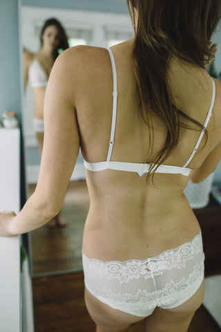 {Pre-Order, 6-8 weeks to ship} The Kaydee - Wide Lace Brazilian in Ivory