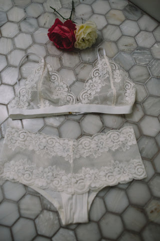 Luxe Lace Bralette + Lace Panty Set in Ivory