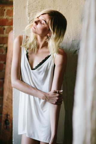 The Sybil - Bamboo Sleep Tank in Ivory