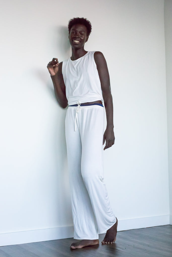 The Ashley - Bamboo Pajama Lounge Pants in Ivory