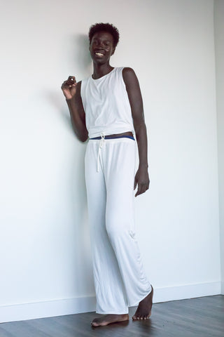 Bamboo Pajama Set (pants+ tie-back tank) in Ivory