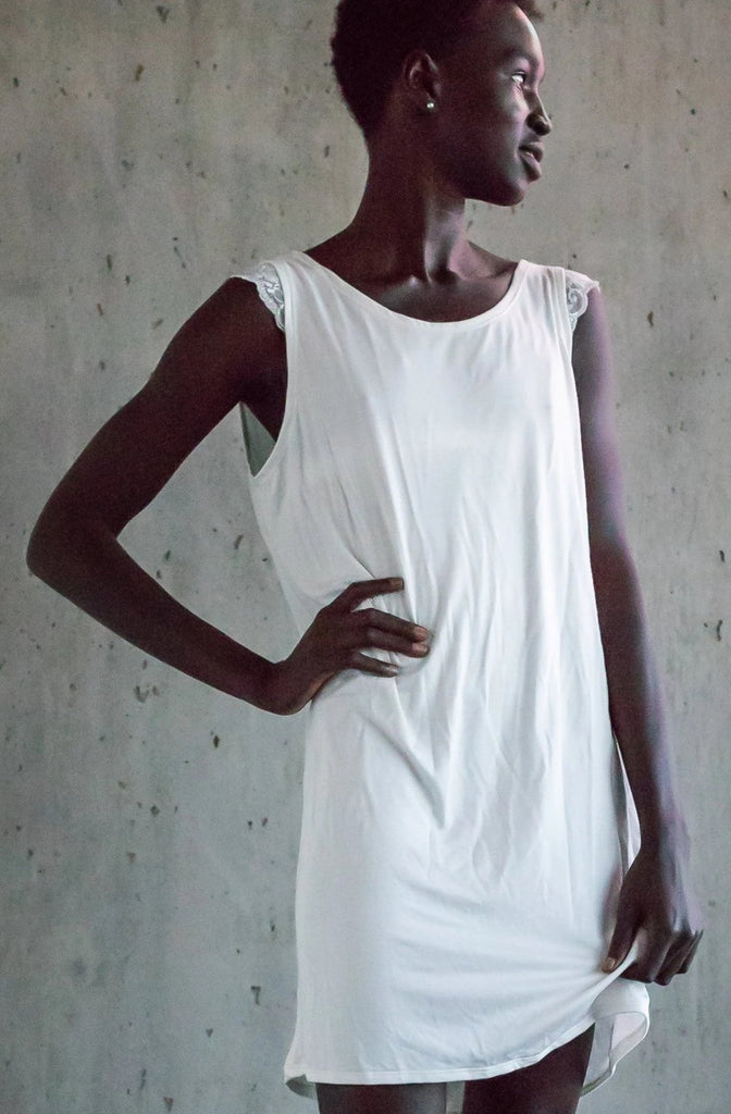 The Anna - Day or Night Bamboo Shift Dress in Ivory