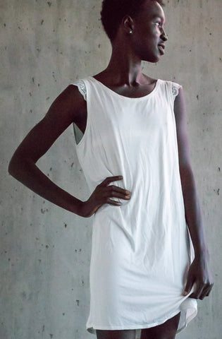 Day or Night Bamboo Shift Dress in Ivory - The Anna