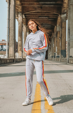 World Champs Limited Edition Sustainable Jogger Unisex - in Heather Grey with Hand Dyed Stripes