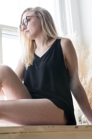 The Sybil - Sleep Tank in Black