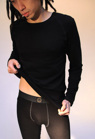 Bamboo Long Underwear Pants and Shirt Set in Black