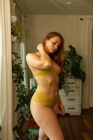 Lace Thong in Hand Dyed Marigold - The Diana