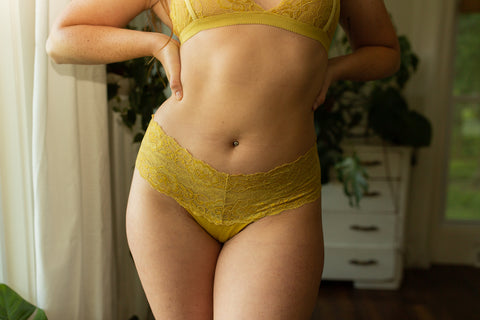 Lace Brazilian Panty in Hand Dyed Marigold - The Kaydee