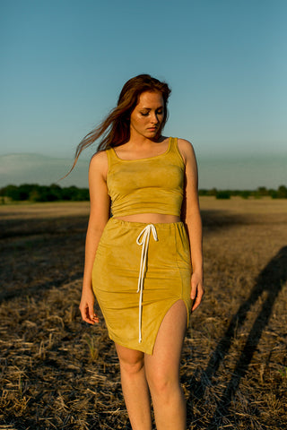 *New Product* Bamboo Midi Slit Skirt in Hand Dyed Marigold