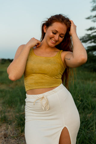*New Product* Bamboo Crop Tank in Hand Dyed Marigold