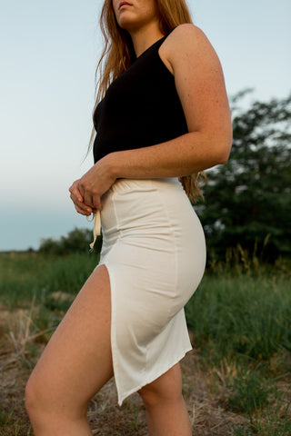 *New Product* Bamboo Midi Slit Skirt in Ivory