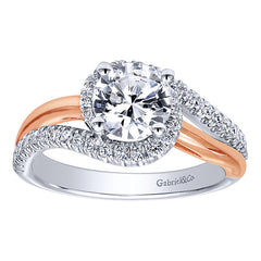 Rose and White Gold Diamond Halo Engagement Ring