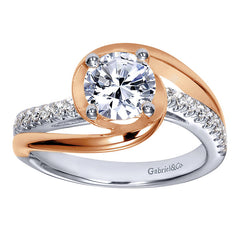 Diamond Engagement Ring with Rose Gold Halo